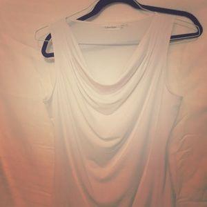 Calvin Klein white drape top